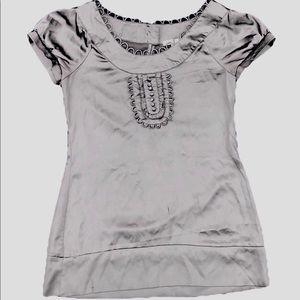 Ann Taylor Silver Satin blouse